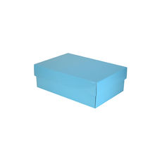 Corrugated Shoe Box 100 Base & Lid - Premium Gloss Baby Blue (White Inside)