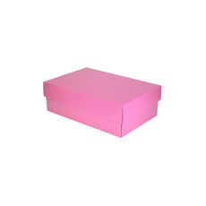 Two Piece Corrugated Shoe Box 100 Base & Lid - Premium Gloss Baby Pink (White Inside)
