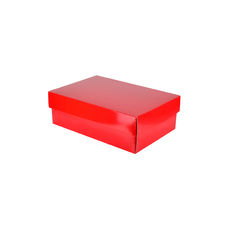 Corrugated Shoe Box 100 Base & Lid - Premium Gloss Red (White Inside)