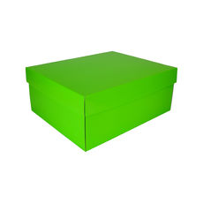 Two Piece Boot Box Base & Lid - Premium Gloss Lime Green (White Inside)