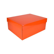 Two Piece Boot Box Base & Lid - Premium Gloss Orange (White Inside)