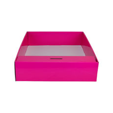 Snack Box with Money Holder - Premium Gloss Hot Pink (White Inside)