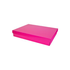 Two Piece Postage & Gift Box 7579 Base & Lid - Premium Gloss Hot Pink (White Inside)