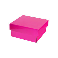 Two Piece Postage & Gift Box 7580 Base & Lid - Premium Gloss Hot Pink (White Inside)