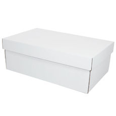 Two Piece Postage & Gift Box 8080 Base & Lid -Kraft White (White Inside)