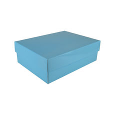 A4 Cardboard Gift Box - Premium Gloss Baby Blue 100mm High - Base & Lid (White Inside)
