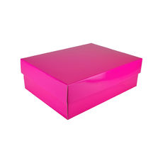 A4 Cardboard Gift Box - Premium Gloss Hot Pink 100mm High - Base & Lid (White Inside)