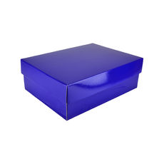 A4 Cardboard Gift Box - Premium Gloss Navy Blue 100mm High - Base & Lid (White Inside)