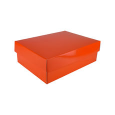 A4 Cardboard Gift Box - Premium Gloss Orange 100mm High - Base & Lid (White Inside)