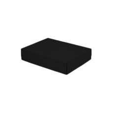 A5 Cardboard Gift Box - Premium Matt Black 50mm High - Base & Lid (White Inside)
