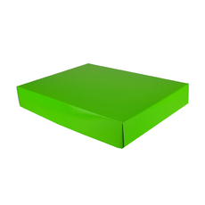 A3 Cardboard Gift Box - Premium Gloss Lime Green 50mm High - Base & Lid (White Inside)