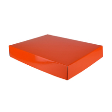 A3 Cardboard Gift Box - Premium Matt Orange 50mm High - Base & Lid (White Inside)