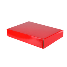 A3 Cardboard Gift Box - Premium Gloss Red 50mm High - Base & Lid (White Inside)