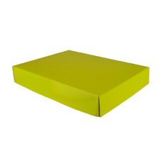 A3 Cardboard Gift Box - Premium Gloss Yellow 50mm High - Base & Lid (White Inside)