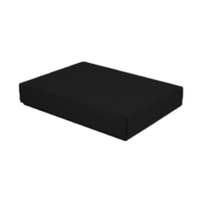 A3 Cardboard Gift Box - Premium Matt Black 50mm High - Base & Lid (White Inside)