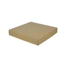 Large Square Cardboard Gift Box Base & Lid - Brown 50mm High (Brown Inside)
