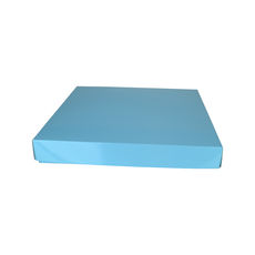 Large Square Cardboard Gift Box Base & Lid - Premium Gloss Baby Blue 50mm High (White Inside)