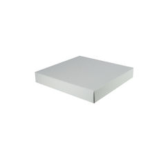 Large Square Cardboard Gift Box Base & Lid - Premium Gloss White 50mm High (White Inside)