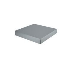 Large Square Cardboard Gift Box Base & Lid - Premium Gloss Silver 50mm High (White Inside)