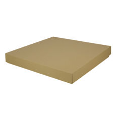 Extra Large Square Cardboard Gift Box Base & Lid - Brown 50mm High (Brown Inside)