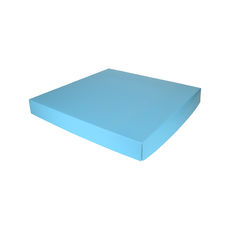 Extra Large Square Cardboard Gift Box Base & Lid - Premium Gloss Baby Blue 50mm High (White Inside)
