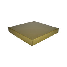 Extra Large Square Cardboard Gift Box Base & Lid - Premium Gloss Gold 50mm High (White Inside)