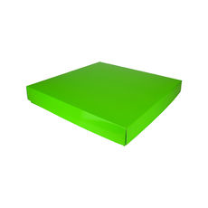 Extra Large Square Cardboard Gift Box Base & Lid - Premium Gloss Lime Green 50mm High (White Inside)