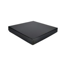 Extra Large Square Cardboard Gift Box Base & Lid - Premium Gloss Black 50mm High (White Inside)