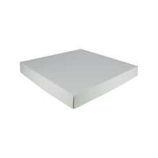 Extra Large Square Cardboard Gift Box Base & Lid - Premium Gloss White 50mm High (White Inside)
