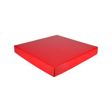 Extra Large Square Cardboard Gift Box Base & Lid - Premium Gloss Red 50mm High (White Inside)