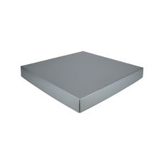 Extra Large Square Cardboard Gift Box - Premium Gloss Silver 50mm High (White Inside)
