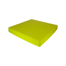 Extra Large Square Cardboard Gift Box Base & Lid - Premium Gloss Yellow 50mm High (White Inside)