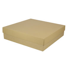 Extra Large Square Cardboard Gift Box Base & Lid - Brown 100mm High (Brown Inside)