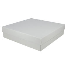 Extra Large Square Cardboard Gift Box - 100mm High (Base & Lid) - Kraft White (White Inside)