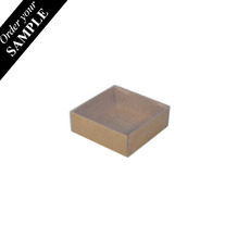 SAMPLE - Square 82mm Gift Box with Clear Lid - Kraft Brown Paperboard