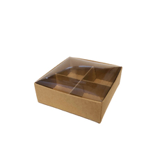 4 Pack Chocolate Box with INSET CLEAR LID (NEW Clear Lid Design) & Insert - Craft Brown (Brown Inside)