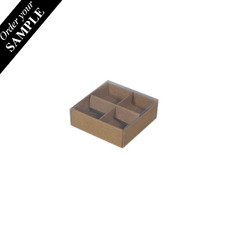 SAMPLE - 4 Pack Chocolate Box with Clear Lid & Insert - Craft Brown (Brown Inside)