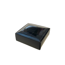 4 Pack Chocolate Box Base with INSET CLEAR LID (NEW Clear Lid Design) - Matt Black (Minimum Order 100 units) - Paperboard