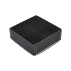 4 Pack Chocolate Box with Clear Lid - Matt Black Paperboard (Base, Insert & Clear Lid)