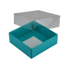 Square 82mm Gift Box with Clear Lid - Matt Blue (Minimum Order 100 units)  - Paperboard
