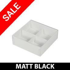 SALE - 25 x 4 Pack Chocolate Box with Clear Lid & Insert - Matt Black