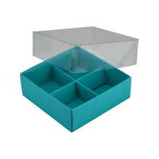 4 Pack Chocolate Box Base & Clear Lid - Matt Blue - Paperboard - Temp out of Stock