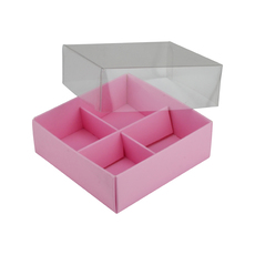 4 Pack Chocolate Box Base & Clear Lid - Matt Pink (Minimum Order 100 units) (White Inside)