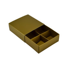 4 Pack Chocolate Box Slide over cover with removable inserts  - Gloss Gold (White Inside)