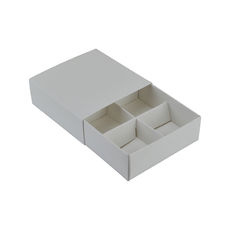 4 Pack Chocolate Box Slide over cover with removable inserts - Gloss White lid with Smooth White base