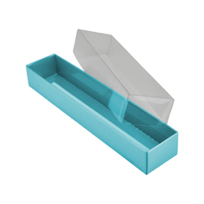 Rectangle 5 Gift Box with Clear Lid - Matt Blue (Minimum Order 100 units) (White Inside)