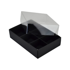 6 Pack Chocolate Box Base & Clear Lid - Matt Black (Minimum Order 100 units)