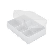 6 Pack Chocolate Box Base & Clear Lid - Gloss White (Minimum Order 100 units)  - Paperboard