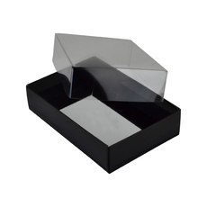 Rectangle 6 Gift Box with Clear Lid - Matt Black (Minimum Order 100 units)  - Paperboard