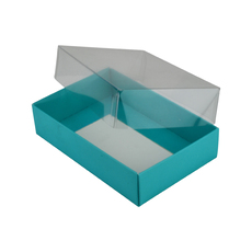 Rectangle 6 Gift Box with Clear Lid - Matt Blue (Minimum Order 100 units)